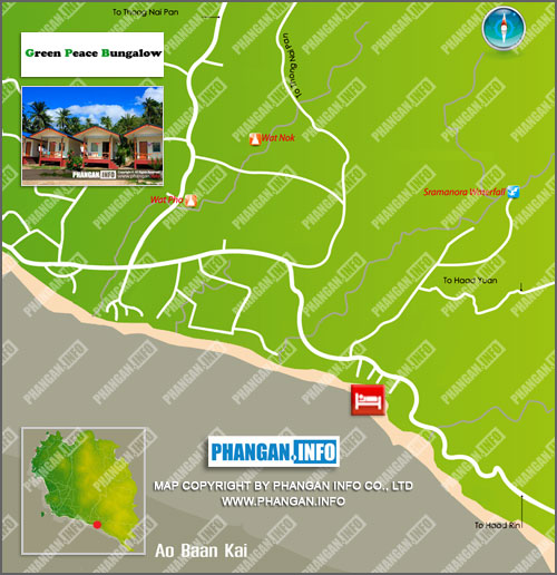 Green Peace Bungalows Location Map