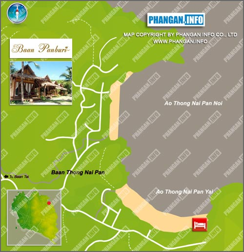 BAAN PANBURI VILLAGE KOH PHANGAN THAILAND LOCATION AND MAPS