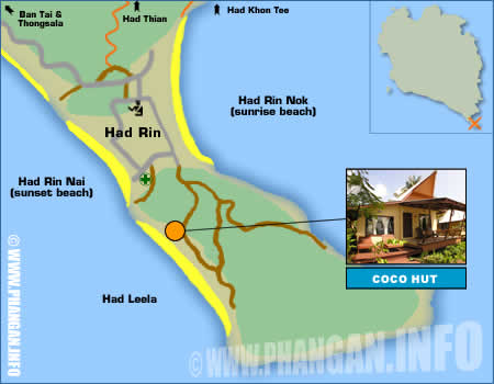 COCO HUT BEACH RESORT KOH PHANGAN THAILAND LOCATION AND MAPS