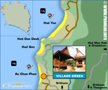 Village Green Restaurant and Bungalows Location Map