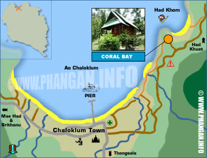 CORAL BAY BUNGALOWS KOH PHANGAN THAILAND LOCATION AND MAPS