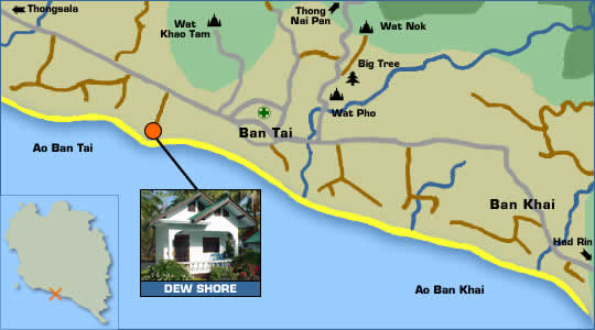 Dew Shore Bungalows Location Map