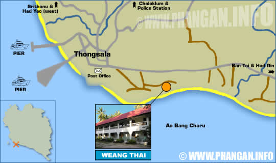 Koh phangan hotels resorts bungalows with ko pha ngan island maps one of the reasons for ao bang charus great popularity is its easy accessibility and proximity the main towns ao bang charu is located on the south coast gumiabroncs Gallery