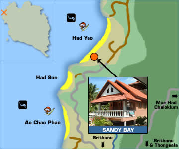 Sandy Bay Bungalows Location Map