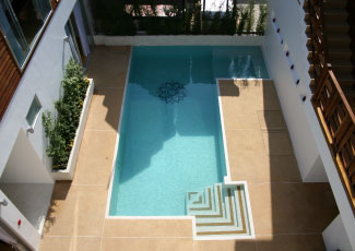 Central White Terrazzo Swimming Pool at Mandalai