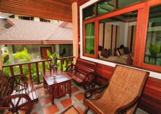 Private terrace in front of Air Con Bungalow