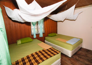 Wooden Fan Bungalow with 2 Double Beds