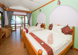 Beachfront Roon with two double beds