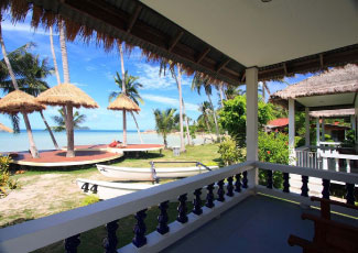 balcony at beach front bungalow