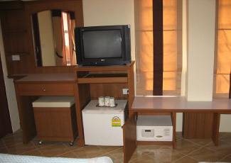 Room with TV, Fridge and Safe Box