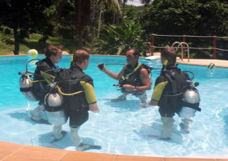 Reefers Diving instruction in the pool