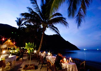 Beachfront Restaurant at Sunset