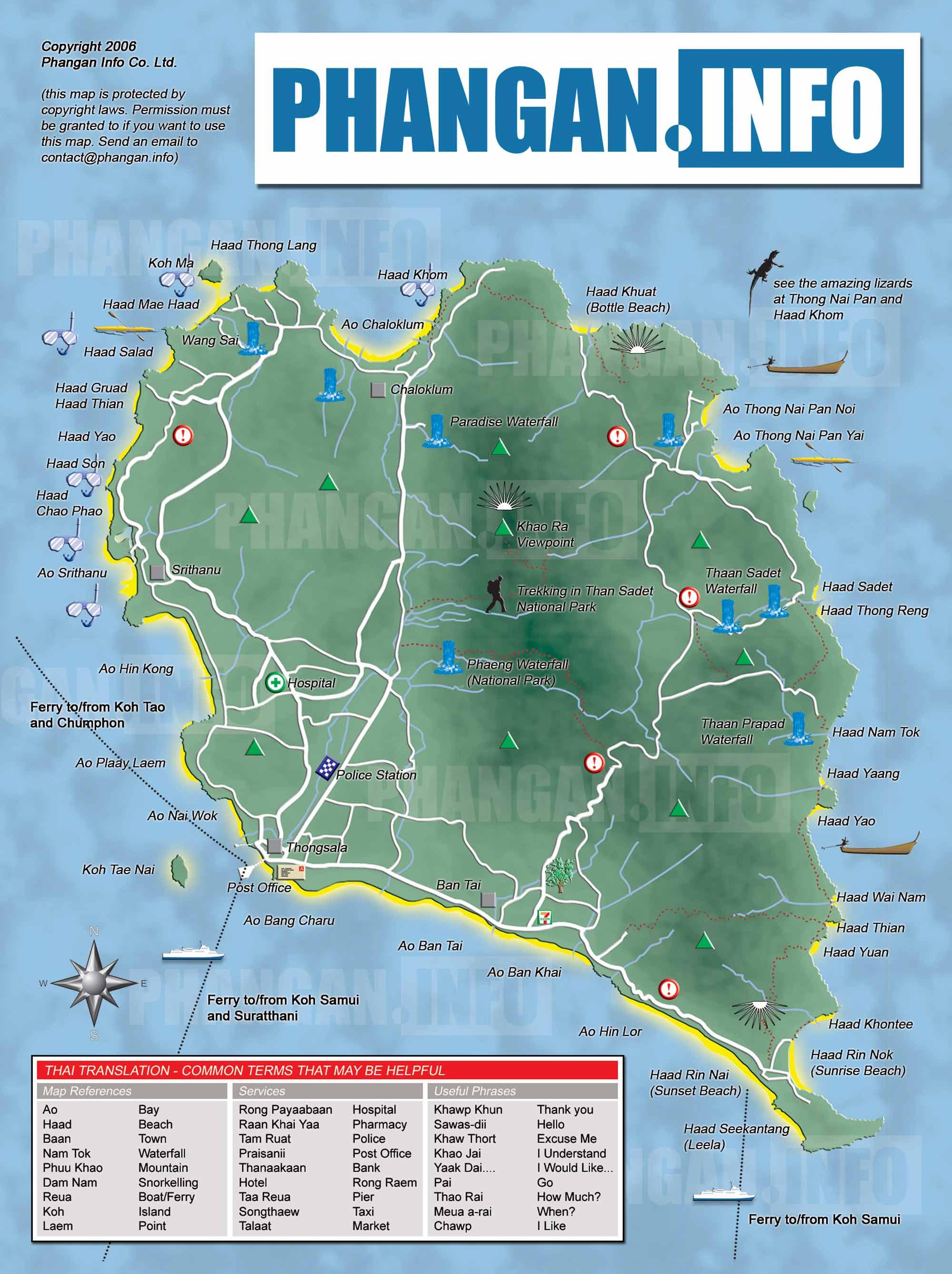 Koh Phangan Map KOH PHANGAN.INFO: KO PHA NGAN ISLAND MAP, THAILAND Koh Phangan Map