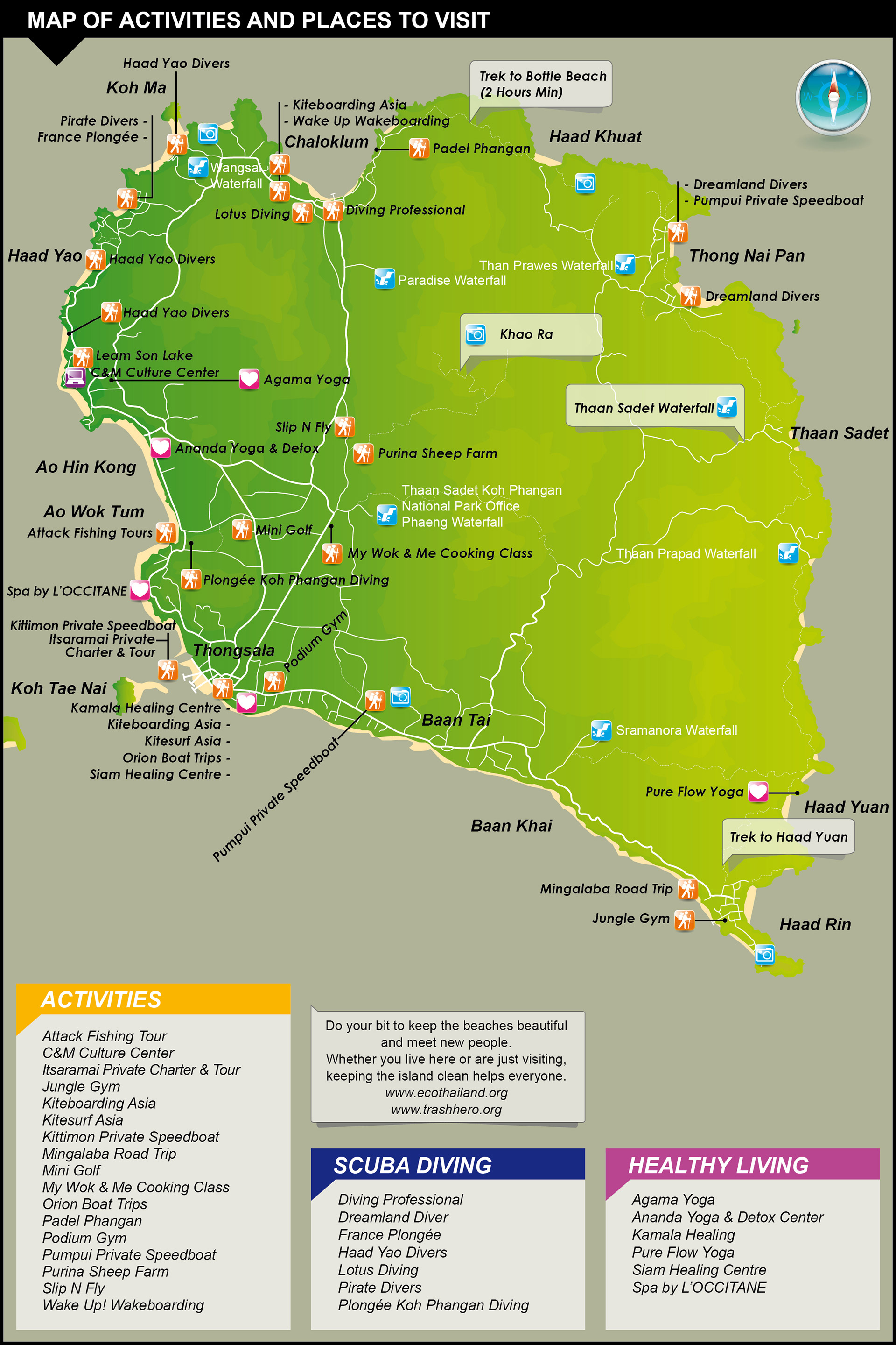 Adventure & Activities Map – Koh Phangan Thailand