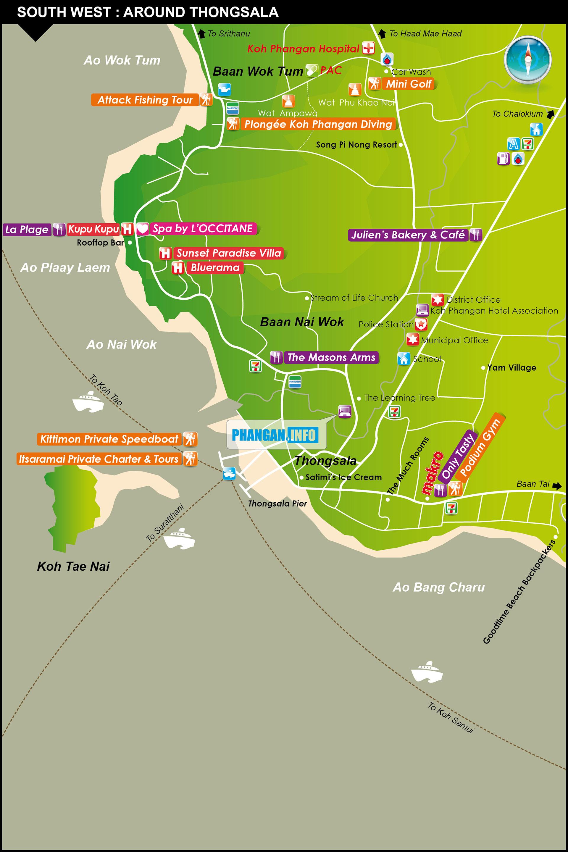 Koh Phangan Thailand Map.Maps Koh Phangan Thailand