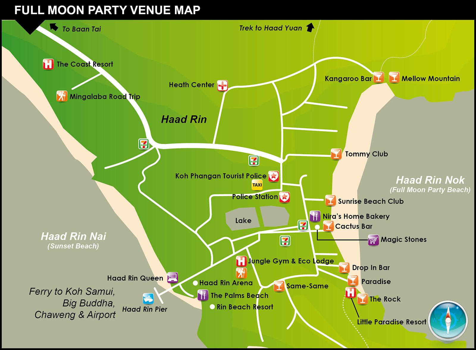Full Moon Party Map – Koh Phangan Thailand