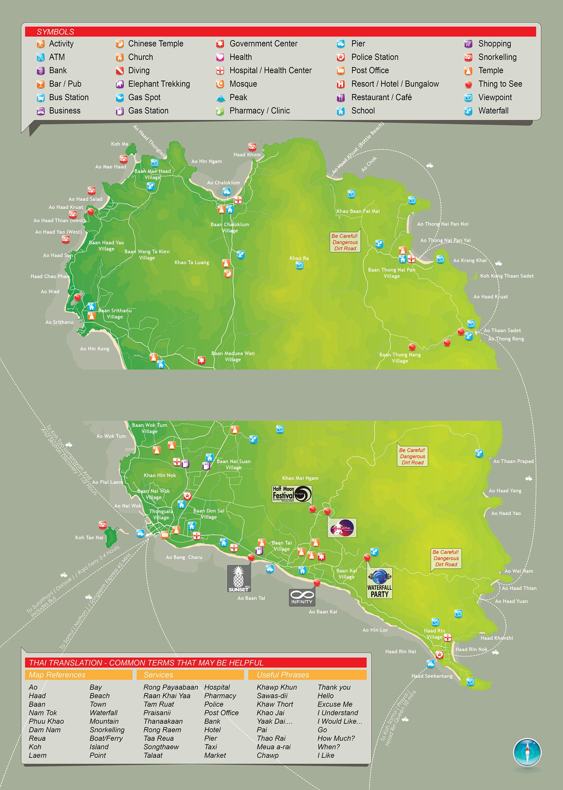 Koh Phangan Thailand Map.Koh Phangan Map Koh Phangan Thailand