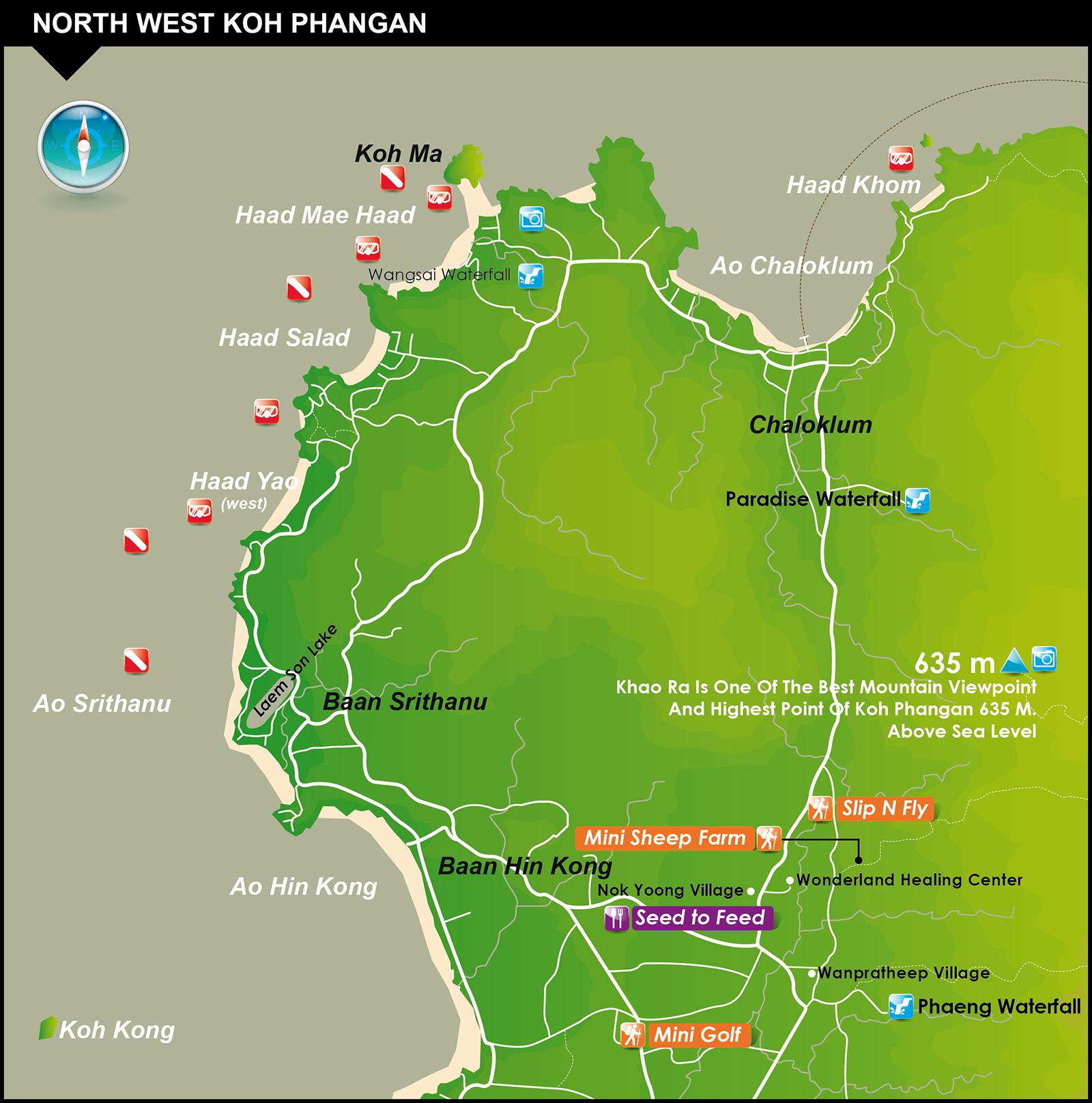 North West Map  U2013 Koh Phangan Thailand