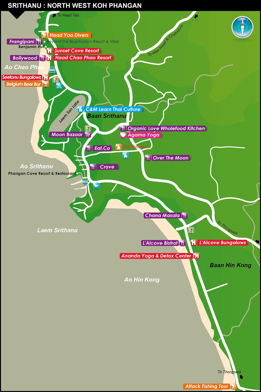 Koh Phangan Thailand Map.Around Srithanu Map Koh Phangan Thailand